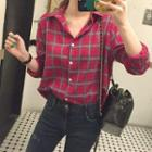 Long Sleeve Plaid Boyfriend Shirt