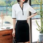 Contrast Trim Elbow-sleeve Blouse / Pencil Skirt / Wide-leg Pants
