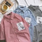 Short-sleeve Striped Pocketed Shirt