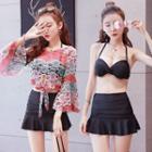 Set: Plain Bikini Top + Swim Skirt + Lace Cover-up