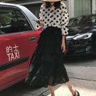 Polka Dot Chiffon Shirt / Tiered Midi Skirt