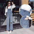 Ripped Wide-leg Dungaree
