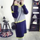Colour Block Ribbed Knit Dress