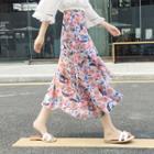 Floral Print Chiffon A-line Midi Skirt