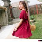 Tie-waist A-line Chiffon Dress