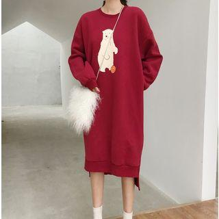 Polar Bear Pattern Pullover Dress Wine Red - One Size