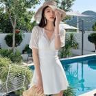 Lace Panel Open-back Short-sleeve Swim Dress