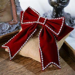 Wedding Bow Rhinestone Velvet Hair Clip Hair Clip - Wine Red - One Size