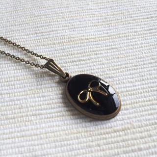 Copper Ribbon Necklace (black) One Size