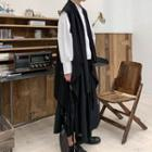 Plain Asymmetric Long Vest Black - One Size