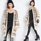 Patterned Fringed Long Cardigan