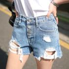 Button-fly Distressed Denim Shorts