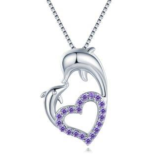 Forever Dolphin Love - 925 Sterling Silver Purple Cz Necklace