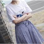 Set: Short-sleeve Printed T-shirt + Midi Striped A-line Skirt