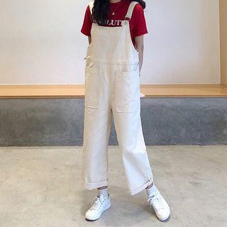 Cropped Cargo Dungaree As Shown In Figure - One Size