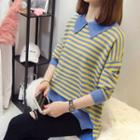 Long-sleeve Collared Striped Knit Top