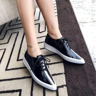 Genuine Leather Pointed Lace-up Shoes