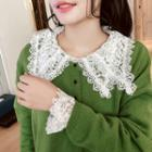 Collared Long-sleeve Lace Top White - One Size