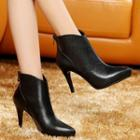 Genuine-leather High-heel Panel Ankle Boots