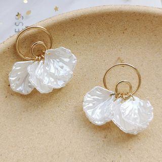 Resin Petal Fringed Earring 1 Pair - Stud Earring - As Shown In Figure - One Size