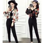 Set: Floral Print Long-sleeve Blouse + Skinny Pants