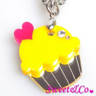Sweet&co Mini Yellow Cupcake Crystal Silver Necklace Silver - One Size