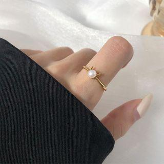 Ox Horn Faux Pearl Sterling Silver Open Ring