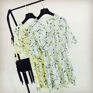 Floral Print Bell-sleeve Chiffon Dress