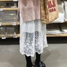 Lace Overlay Midi Skirt