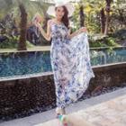 Strappy Floral Chiffon Maxi Dress