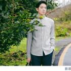 Long-sleeve Stand-collar Striped Shirt