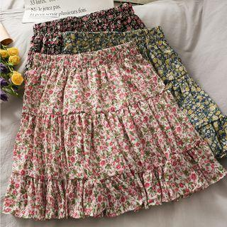Floral Ruffled Mini Skirt