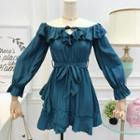 Boatneck Tie-neckline A-line Dress