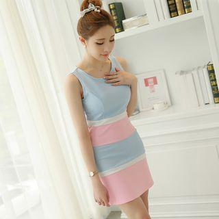 Color Block Sleeveless Mini Dress