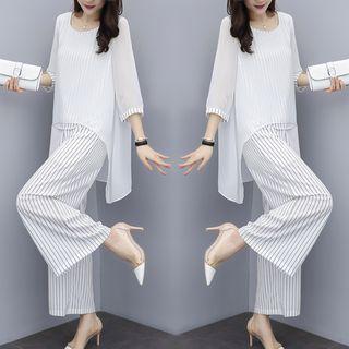 Set: Chiffon Striped Long-sleeve Top + Striped Pants