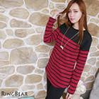 Long-sleeve Striped Fleece Lined Top
