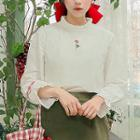 Frilled Rose-embroidered Blouse White - One Size