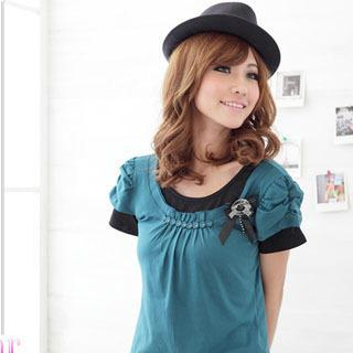 Inset Tee Puff-sleeve Top With Brooch
