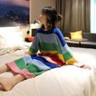 Striped Sleep Dress As Shown In Figure - One Size