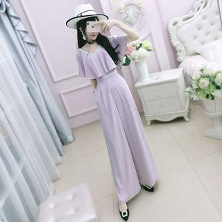Short-sleeve Chiffon Wide-leg Jumpsuit