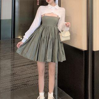 Long-sleeve Cropped Blouse / Spaghetti Strap Mini A-line Dress