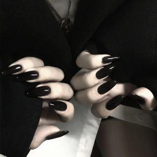 Pointed Faux Nail Tip 297 - Glue - Black - One Size