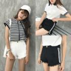 Striped Fray Hem Denim Shorts
