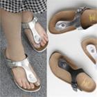Buckled T-strap Slide Sandals