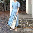 Short Sleeve Plain Midi Dress