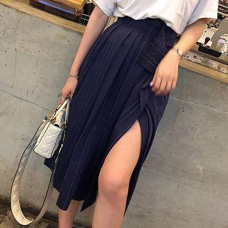 Midi A-line Slit Striped Skirt