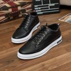 Wing-tip Faux Leather Sneakers