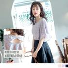 Flutter-sleeve Dotted Round Neck Chiffon Top