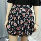 Floral Patterned Mesh-hem Miniskirt