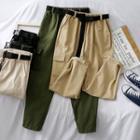 Adhesive Tabs Cargo Jogger Pants With Belt